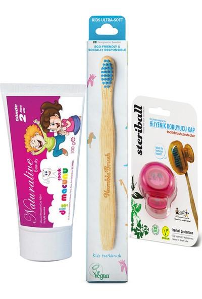Naturalive Florürsüz Çocuk Diş Macunu Humblebrus Organik Fırça Steribal Koruyucu Kap Mavi