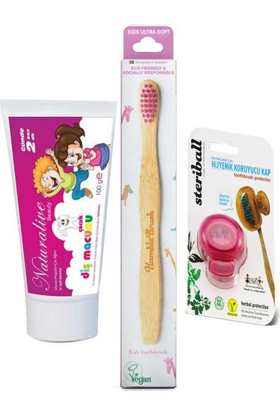 Naturalive Florürsüz Çocuk Diş Macunu Humblebrus Organik Fırça Steribal Koruyucu Kap Lila