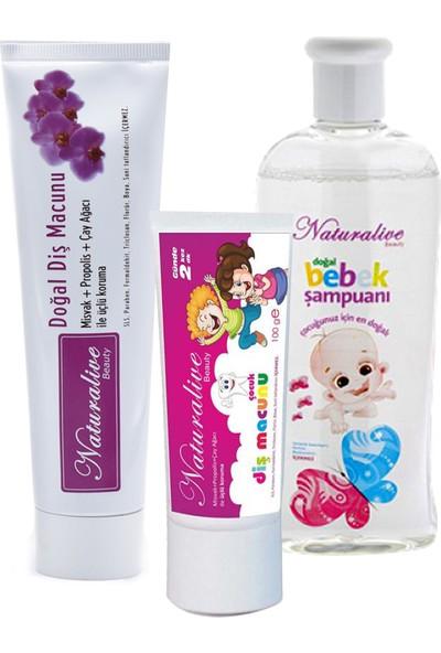 Naturalive Florürsüz Çocuk+Yetişkin Diş Macunu+Bebek Şampuanı