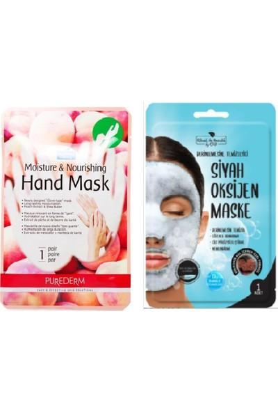 Purederm Nemlendirici ve Besleyici El Maskesi Şeftali Özlü + Rituel De Beaute Oksijen Maske 2'li