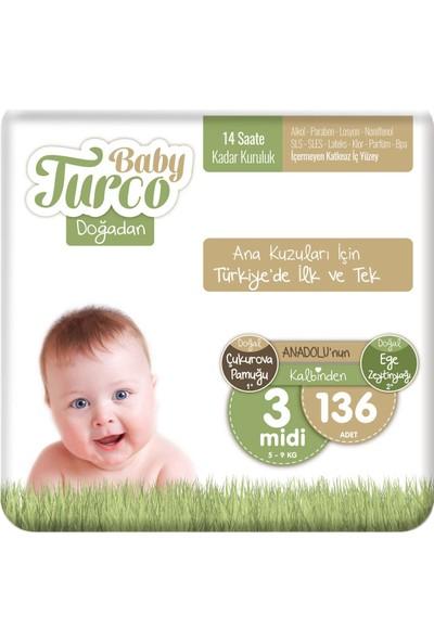 Baby Turco Doğadan 3 Numara Midi 136'LI