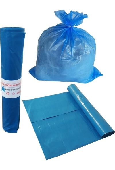 Çöp Torbası Poşeti Mavi Rulo 55 x 60 Orta ( Koli: 10 Rulo )