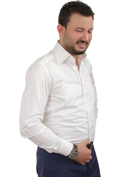 Chamis France Slimfit Beyaz Polat Yaka Gömlek