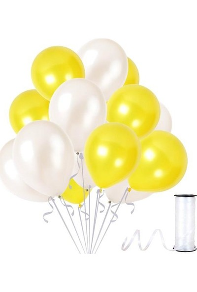 Kullanatparty Rafya Hediyeli 100 Adet Metalik Parti Balonu Beyaz - Sarı