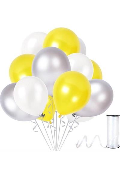 Kullanatparty Rafya Hediyeli 100 Adet Metalik Parti Balonu Gümüş - Beyaz- Sarı