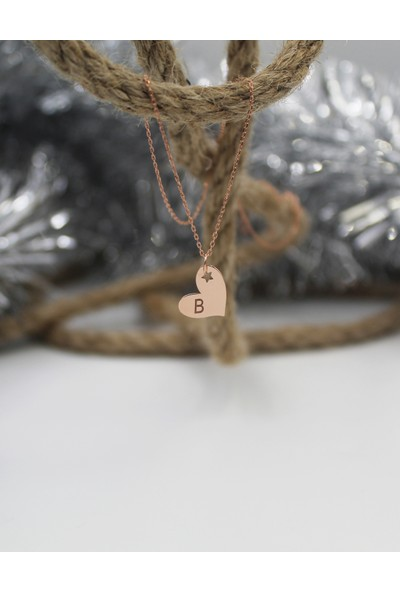 Alberaccessories 925 Ayar Gümüş Rose Kaplama Mini Yıldız Detaylı B Harf Kalp Kolye