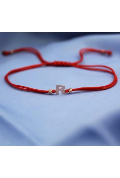 Alberaccessories Kadın Pembe Gümüş Kaplama Kırmızı İp R Harf Mini Bileklik 925 Ayar