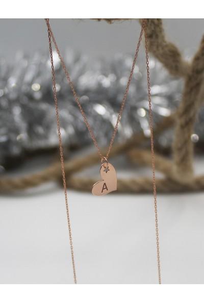 Alberaccessories 925 Ayar Gümüş Rose Kaplama Mini Yıldız Detaylı A Harf Kalp Kolye
