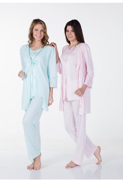 Bone Club Bone 3lü Sabahlıklı Lohusa Pijama Takımı 4301