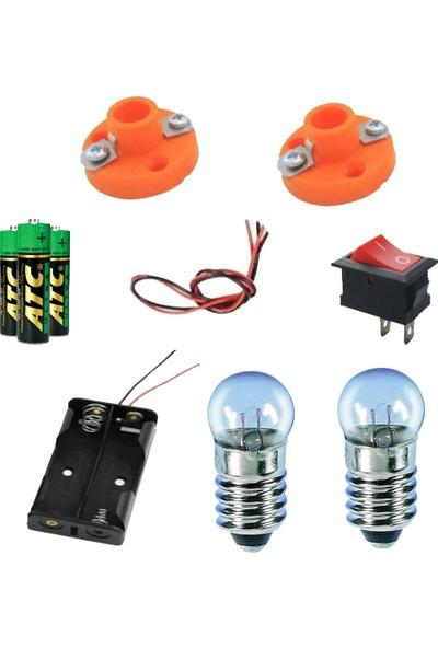 Emay Center Okul Deney Seti - 4 Pil Duy Anahtar Pil Yatağı Lamba Pil Kablo