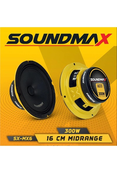 Soundmax SX-MX6-300W-100W Rms- 16 cm Profesyonel Midrange-2 Adettir