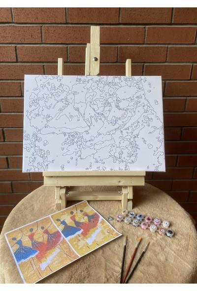 Hobi Sepeti Dans Sayılarla Boyama Seti Fırça Pamuk Tuval Şeklinde Çerçeveli 35 x 50 cm