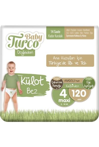 Baby Turco Doğadan Külot Bez 4 Numara Maxi 120'li