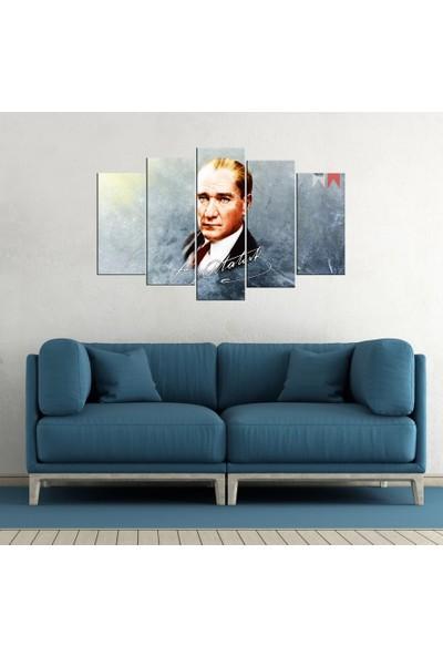 PR Mustafa Kemal Atatürk Kanvas Tablo 5 Parçalı Hediyelik Dekoratif Tablo