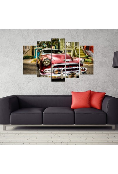 PR Chevrolet 1956 Nostaljik Araba Dekoratfi Kanvas Tablo 5 Parçalı Tablo