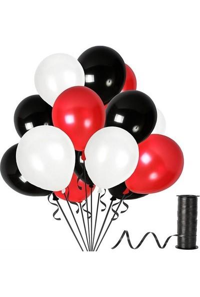 Kullanatparty Rafya Hediyeli 50 Adet Metalik Parti Balonu Kırmızı - Siyah - Beyaz