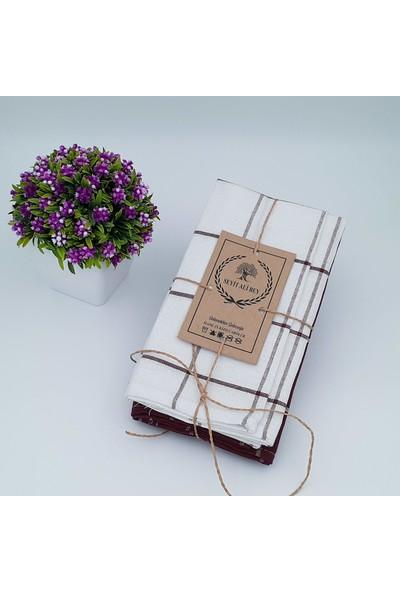 Seyit Ali Bey   2 Adet Elit Desen   Bordo-Beyaz  50*70 cm   Kurulama Bezi  kızılcabölük Dokuması