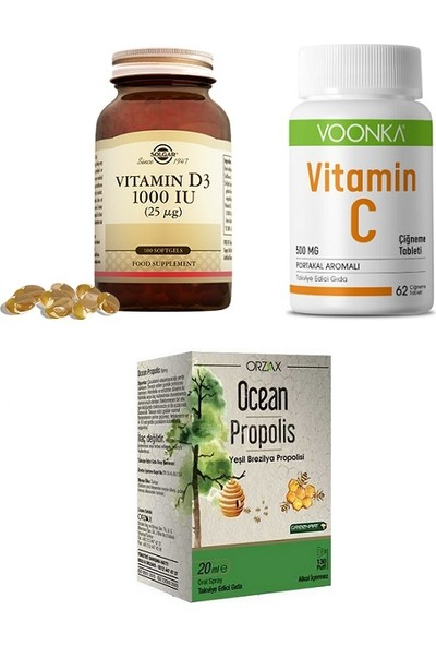Solgar Vitamin D3 1000 Iu 100 Kapsül + Voonka Vitamin C 500 Mg 62 Çiğneme Tableti + Ocean Propolis 20 ml