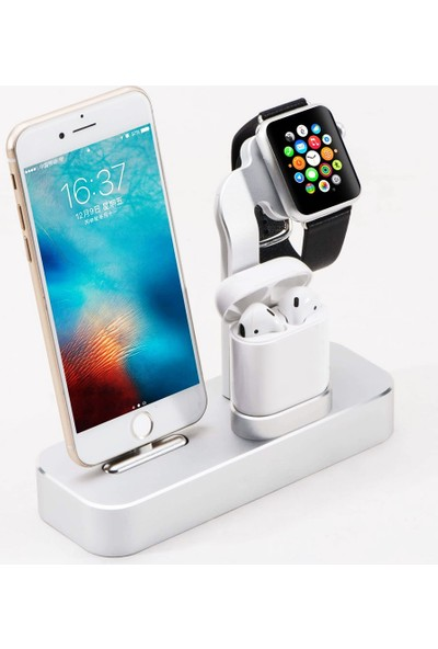 CoverZone Alüminyum Iphone/airpods/watch Standı 3in1 Telefon Kulaklık ve Saat Şarj Istasyonu