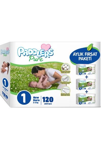 Paddlers Pure 1 Numara Newborn 2-5 kg 120 Adet Aylık Fırsat Paketi