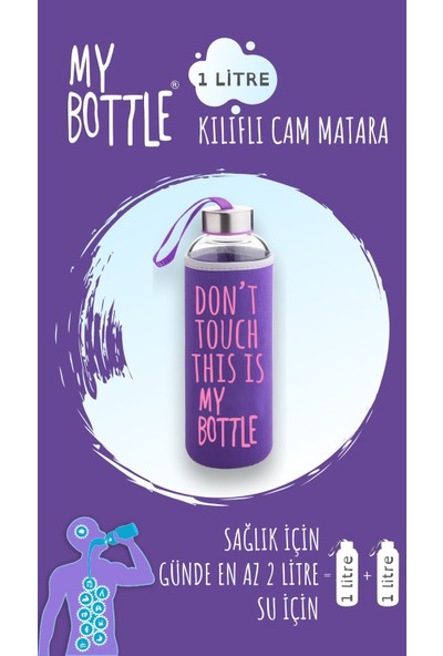 My Bottle Borosilikat Cam Matara 1000 ml Su Şişesi 1lt