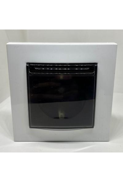 Elbi Vega Kapaklı Topraklı Priz Beyaz Siyah Çerçeveli Renkli
