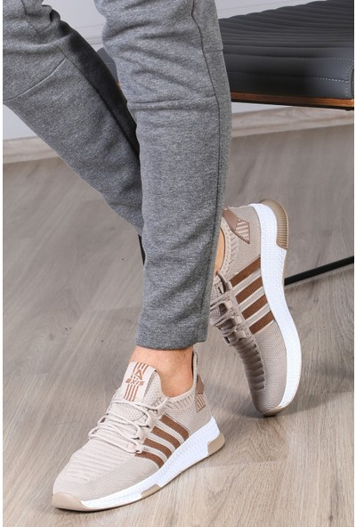 Madmext Erkek Şeritli Bej Sneaker MS027