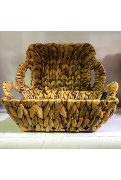 Karçiçeği Hasır Ekmek Sepeti, Çok Amaçlı Sepet 33X27 cm