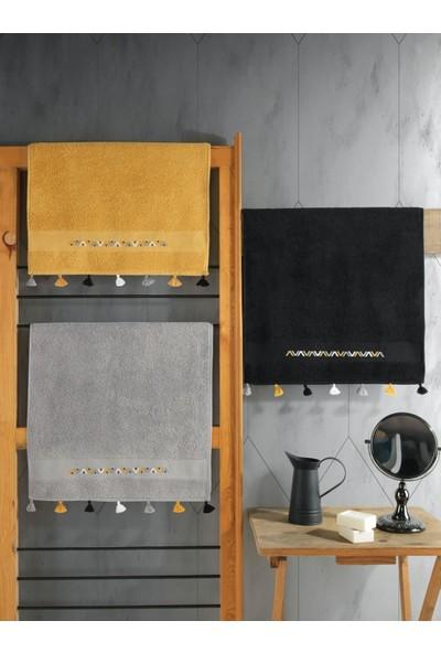 Cotton Box Nakışlı Fit Havlu Seti 3 Adet 50X90 Siyah-Hardal-Gri