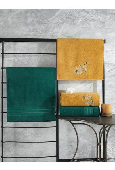 Cotton Box Colorful Hamam Seti 4 Lü Havlu Koyu Yeşil-Sarı