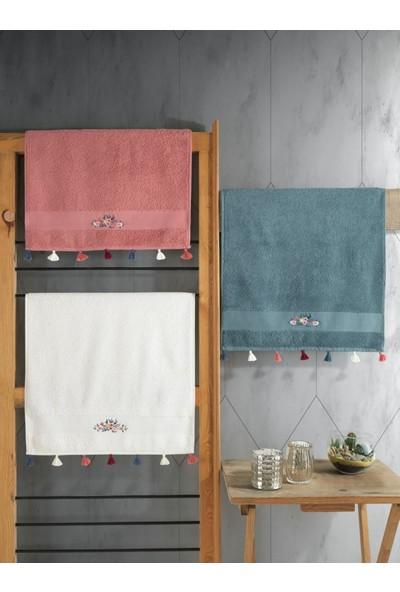 Cotton Box Nakışlı Fit Havlu Seti 3 Adet 50X90 Nar Çiçeği-Krem-Mavi