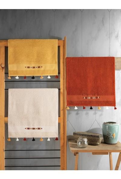 Cotton Box Nakışlı Fit Havlu Seti 3 Adet 50X90 Mercan-Hardal-Bej