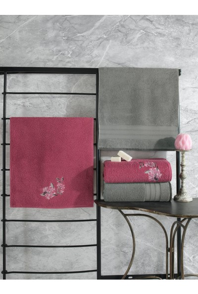Cotton Box Colorful Hamam Seti 4 Lü Havlu Gri-Koyu Pembe