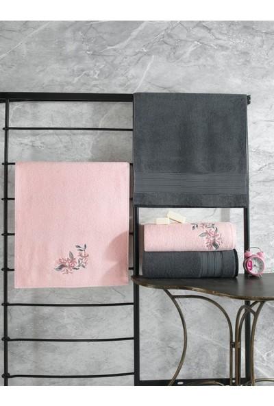 Cotton Box Colorful Hamam Seti 4 Lü Havlu Antrasit-Açık Pembe