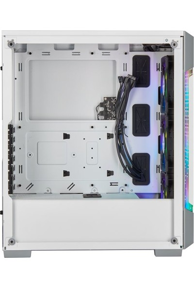 Corsair CC-9011174-WW iCUE 220T RGB Airflow Tempered Glass Mid-Tower Smart Case, Beyaz