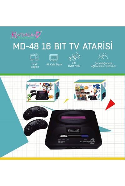 Kontorland 16 Bit Nostalji Tv Atari 2 Kollu Set 48 Oyunlu
