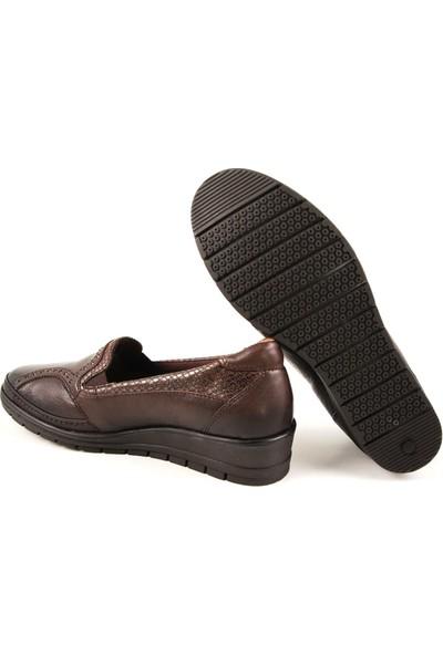 Forelli 25109 Kadın Kahve Deri Comfort Ayakkabı