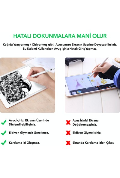 Dodobees K10 Yeni iPad 6-7-8, iPad Air 3-4 ve iPad Pro 11″ 12.9″ Kapasitif Stylus Kalem