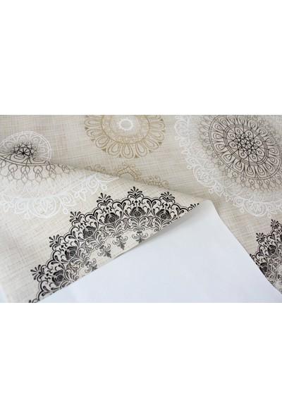 Dede Ev Tekstil Elyaf Astarlı Silinebilir Muşamba Masa Örtüsü Modern Osmanlı Krem