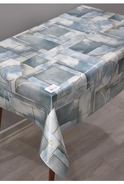 Dede Ev Tekstil Elyaf Silinebilir Pvc Muşamba Masa Örtüsü Çizgili Mavi