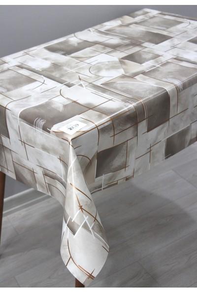 Dede Ev Tekstil Elyaf Silinebilir Pvc Muşamba Masa Örtüsü Çizgili Bronz