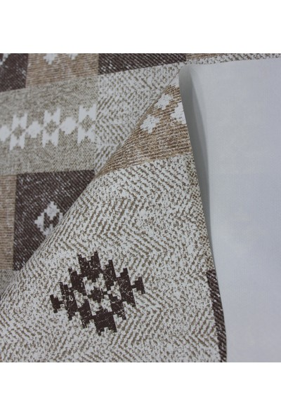 Dede Ev Tekstil Elyaf Silinebilir Pvc Muşamba Masa Örtüsü Kahve Kilim