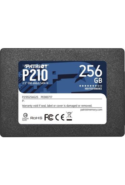"Patriot P210 256GB 500MB/400MB/s Sata 3 2.5"" SSD P210S256G25"