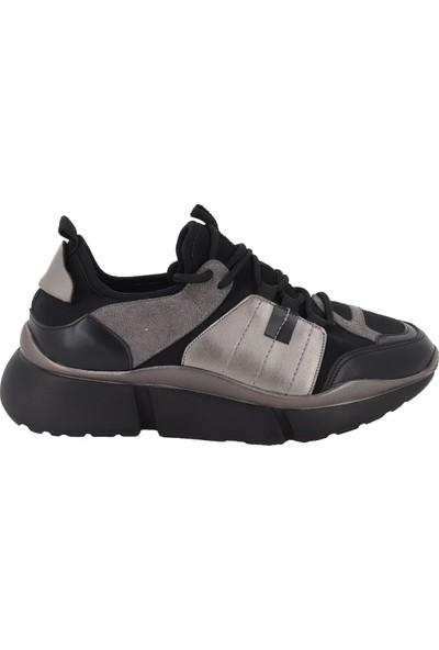Prins Siyah Gri Kadın Spor Ayakkabı 81