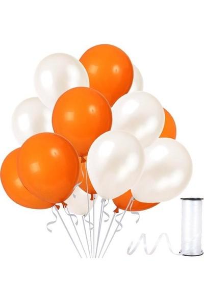 Kullanatparty Rafya 30 Adet Metalik Parti Balonu Beyaz - Turuncu