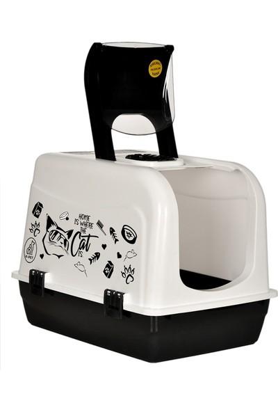 Kırılmaz Kapaklı Büyük Lüks Kapalı Kedi Tuvaleti - Kürek Hediyeli- Kırılmaz Özel Koku Filtreli