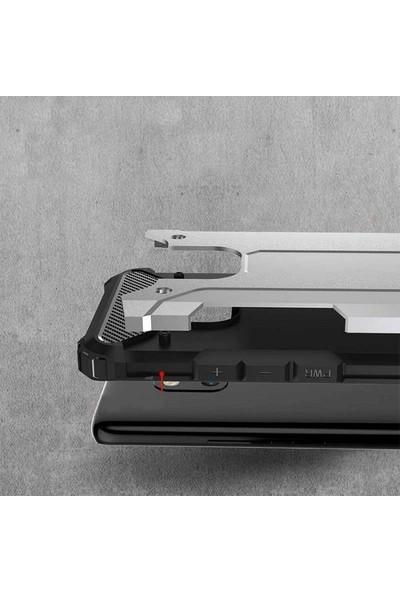 CepArea Realme 6i Kılıf Zırh Özellikli Tank Crash Çift Katman Silikon Kapak + Kırılmaz Cam Gümüş