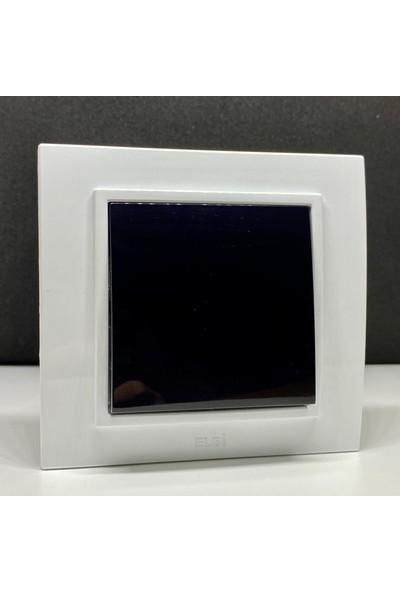 Elbi Zena Anahtar Priz Çerçeveli Beyaz Siyah Renkli