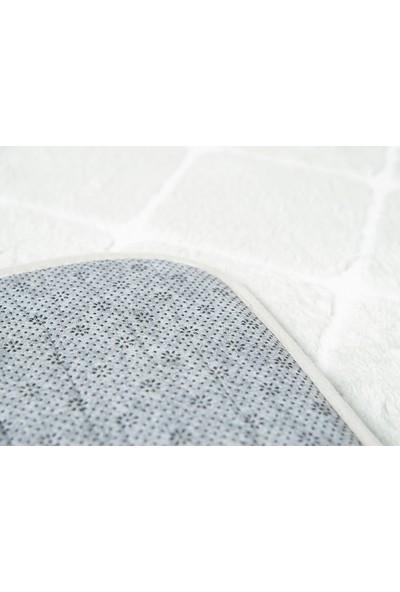 English Home Tile Gri 50 x 80 cm - 45 x 50 cm Polyester Banyo Paspası Seti