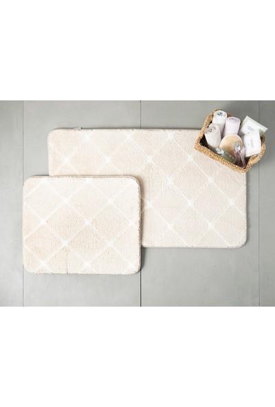 English Home Tile Taş Rengi 60 x 100 cm - 50 x 60 cm Polyester Banyo Paspası Seti
